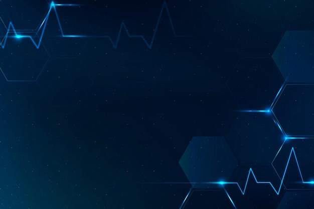Medische technologie wetenschap achtergrond vector in blauw met lege ruimte