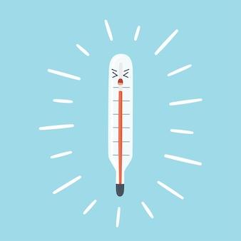 Medische thermometer toont hoge lichaamstemperatuur rode kolom van de thermometerschaal als symbool feve