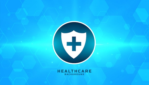 Medische veiligheid badge met blauwe zeshoekige achtergrond