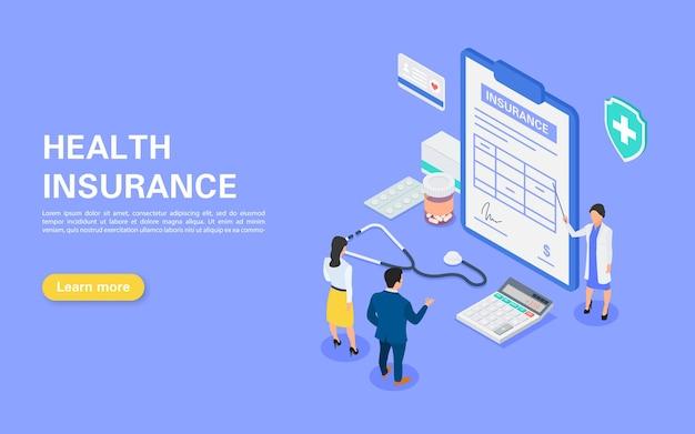 Medische verzekering banner. ziekenhuispersoneel vertelt een jong stel over een verzekeringscontract.