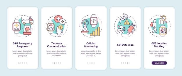 Medische waarschuwing smartwatch-opties onboarding mobiele app-paginascherm met concepten.