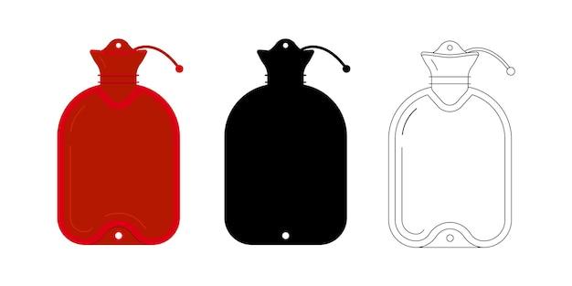 Medische warmer pictogrammenset geïsoleerd op een witte achtergrond. rood plat, eenvoudig zwart silhouet en lineaire verwarmingspan - rubberen warmwaterkruik of zak. warmte pad ontwerp teken cartoon stijl vectorillustratie.