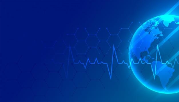Medische wereld en gezondheidszorg blauwe achtergrond met tekstruimte