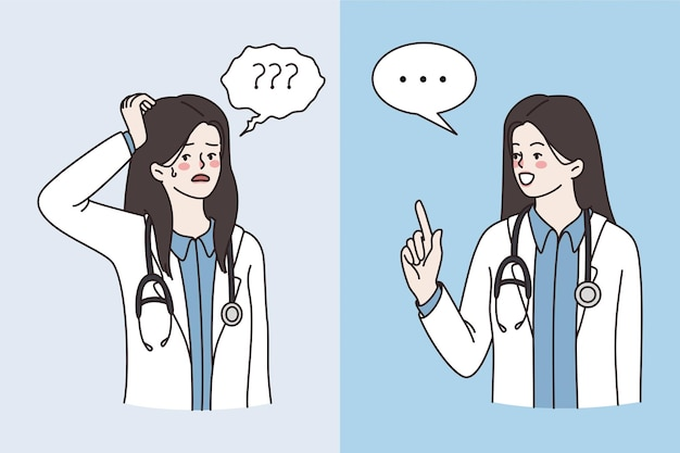 Medische werker die verschillende emoties concept uitdrukt. jonge vrouw arts stripfiguur permanent frustratie uiten en iets zeggen vectorillustratie