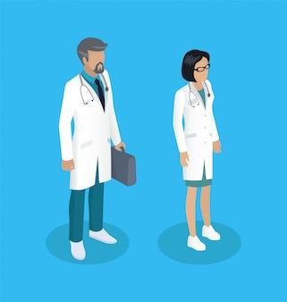 Medische werknemers mensen instellen illustratie