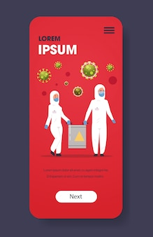 Medische wetenschappers in hazmat pakken dragen biohazard vat stop coronavirus epidemie concept wuhan pandemie gezondheidsrisico volledige lengte smartphonescherm mobiele app verticaal