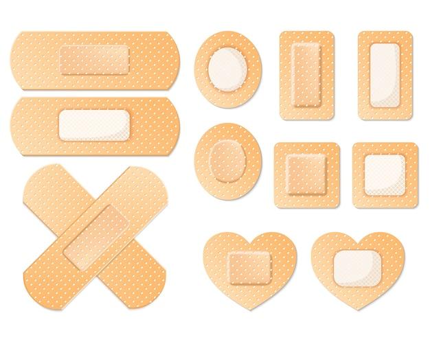Medische zelfklevende bandage pleisters tape set pictogram geïsoleerd op wit
