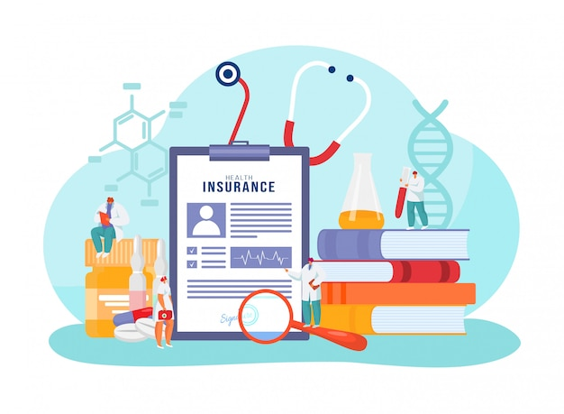 Medische ziektekostenverzekering, stripfiguur kleine dokter permanent met grote papieren formulier documentbeleid