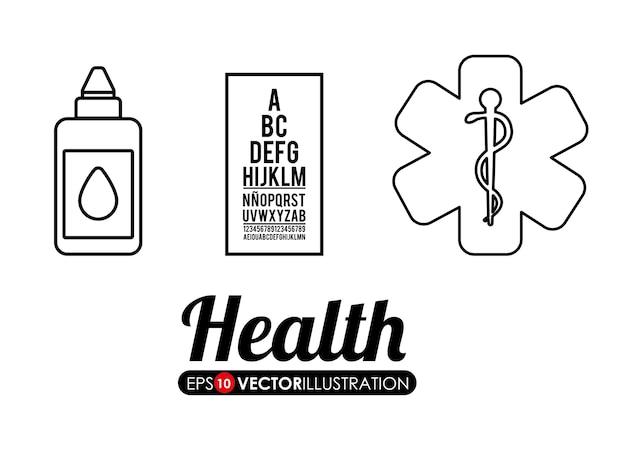 Medische zorg gerelateerde pictogrammen Premium Vector