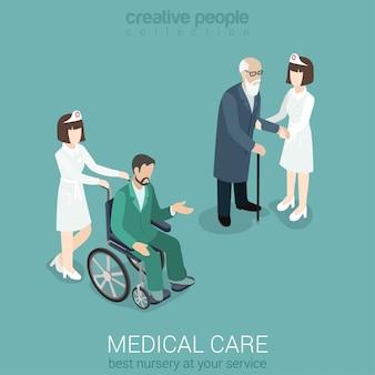 Medische zorg verpleegster arts geneeskunde ziekenhuispersoneel ziektekostenverzekering plat isometrische concept vrouw in uniform met oude man en patiënt op rolstoel.