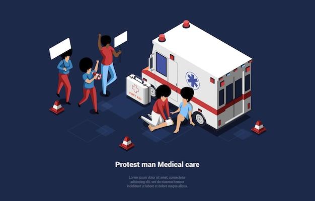 Medische zorg voor protesterende mensen isometrische kunst op donkerblauw