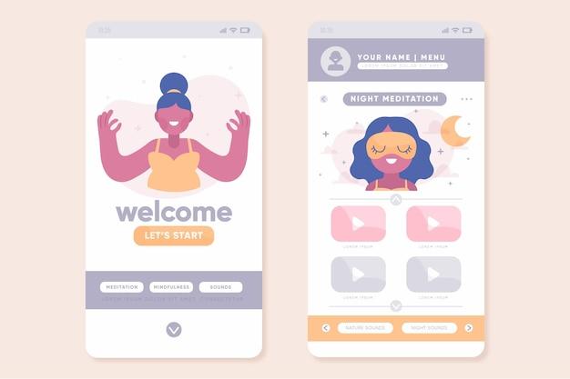Meditatie app-collectie sjabloon
