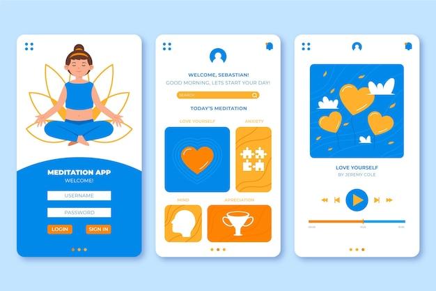 Meditatie app-interface concept