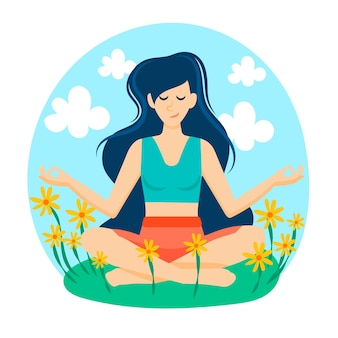 Meditatie concept in een veld van bloemen