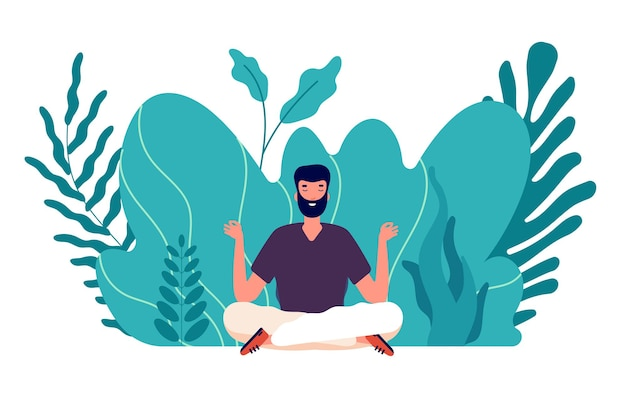 Meditatie concept. man genezen, energiebalans en harmonie in het leven vinden. mannelijke zen, gezondheid en welzijn. focus op bedrijfsidee vectorillustratie. evenwicht en harmonie vormen, gezondheid ontspannen yoga