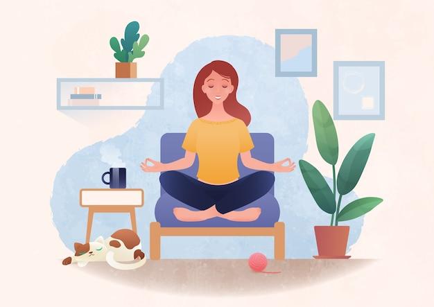 Meditatie en gemoedstoestand concept illustratie met jonge gezonde vrouw beoefenen van yoga in lotus houding thuis