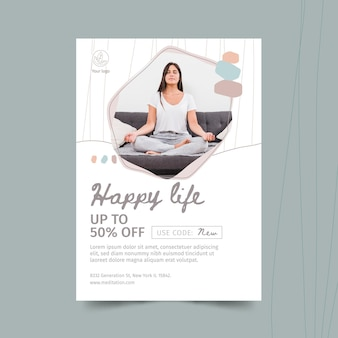 Meditatie en mindfulness flyer-sjabloon