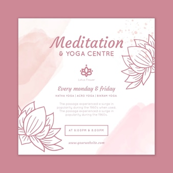 Meditatie en mindfulness kwadraat flyer-sjabloon