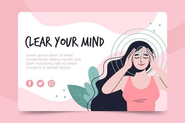 Meditatie en mindfulness-sjabloon voor spandoek