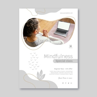 Meditatie en mindfulness verticale flyer