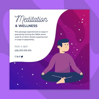 Meditatie en mindfulness vierkante flyer