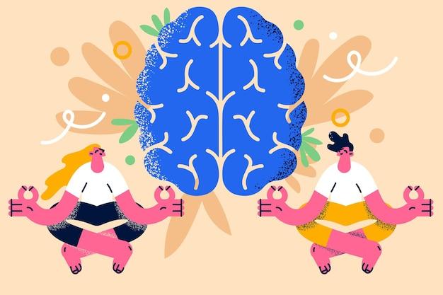 Meditatie, harmonie, hersengezondheidsconcept. jonge lachende paar vrouw en man zitten mediteren met gekruiste vingers en enorme blauwe hersenen op achtergrond vectorillustratie