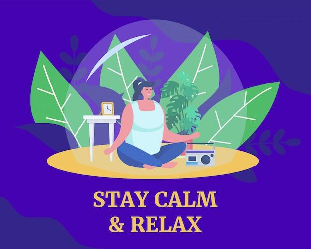 Meditatie helpt kalm te blijven en te ontspannen, illustratie. vrouw in yoga pose, mediteren en geven om gezondheid tijdens quarantaine.