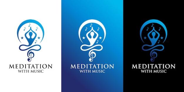 Meditatie met muzieklogo-ontwerp