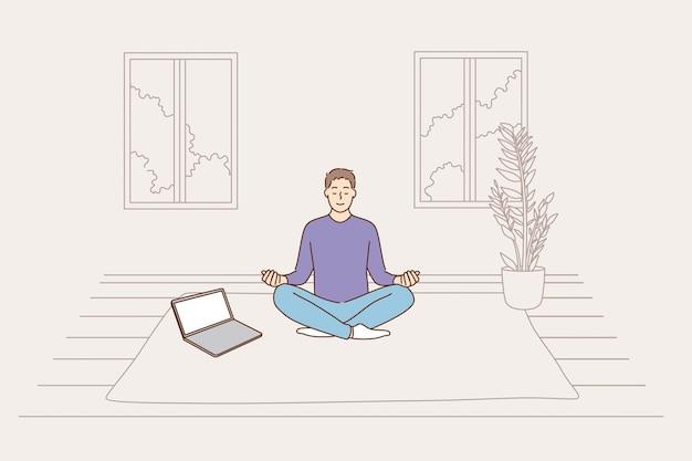 Meditatie online anti-stress concept voor geestelijke gezondheid