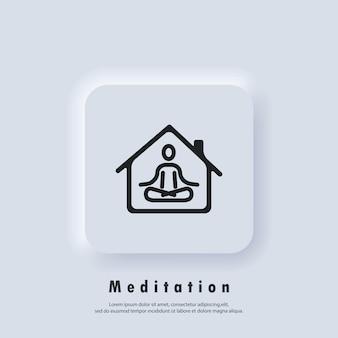 Meditatie pictogram lijn symbool. yoga, fitnessoefening. yoga doen thuis icoon. ontspanning en concentratie. quarantaine activiteit. vector. neumorphic ui ux witte gebruikersinterface webknop. neumorfisme