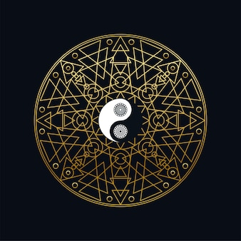 Meditatie pictogrammalplaatje met gouden yin yang teken in mandala overzicht op zwarte achtergrond lineaire vectorillustratie. traditioneel oosters symboolontwerp. aziatische cultuur en evenwichtsconcept