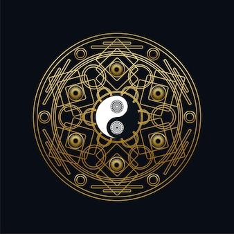 Meditatie pictogrammalplaatje met gouden yin yang teken in mandala