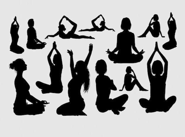 Meditatie sport silhouet