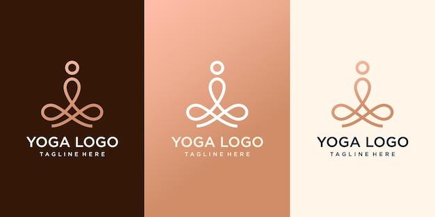 Meditatie yoga eenvoudig logo ontwerp met logo pictogram lijn overzicht. logo ontwerpsjabloon