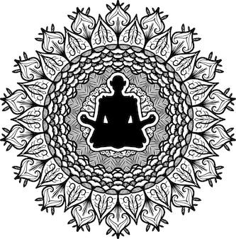 Meditatie, yoga symbool vectorillustratie. contour bloemen mandala kunst. oosterse cultuurtekening