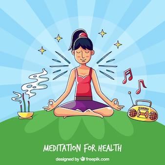 Meditatieconcept met hand getrokken karakter