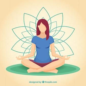 Meditatieconcept met sportieve vrouw