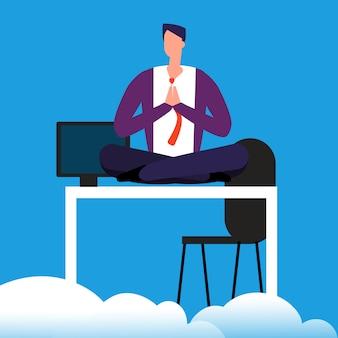 Meditatietijd op het werk. de mens mediteert over de bureau vectorillustratie