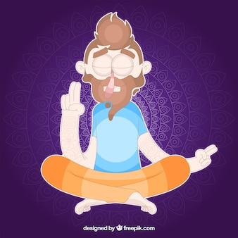 Mediteren concept met de hand getekende man