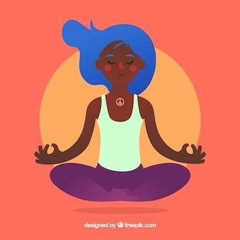 Mediteren concept met de hand getekende vrouw