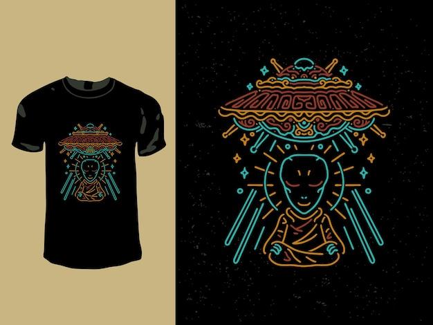 Mediterende alien en ufo monoline t-shirt design