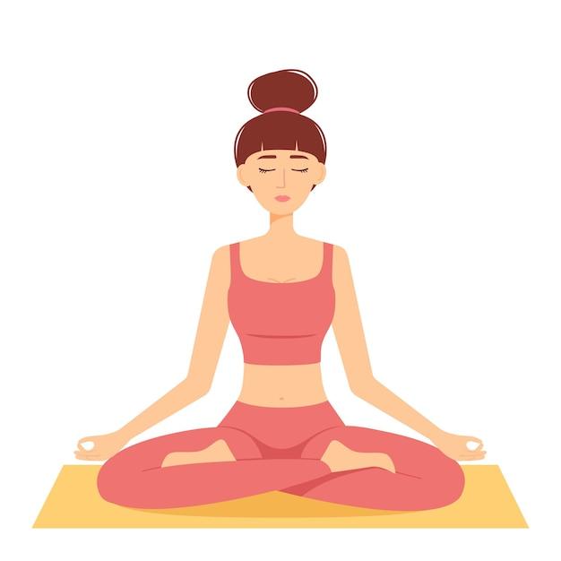 Mediterende vrouw. meisje in lotushouding die yoga beoefent, vectorillustratie