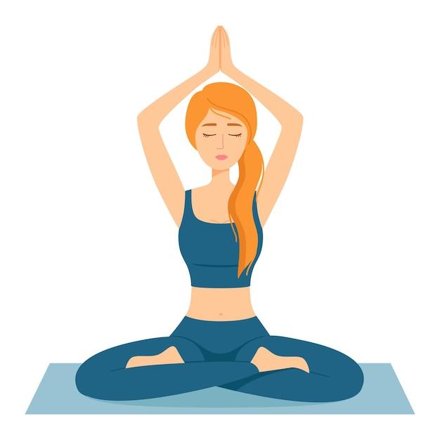 Mediterende vrouw. meisje in lotuspositie die yoga beoefent, vectorillustratie