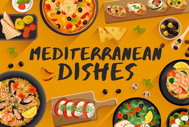 Mediterrane gerechten, voedsel illustratie in bovenaanzicht, vectorillustratie