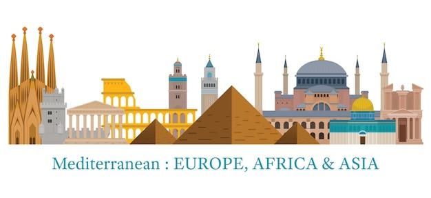 Mediterrane oriëntatiepunten illustratie