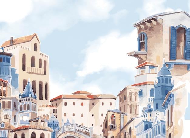 Mediterrane stad die de kleurstijl van het buitenwater bouwen
