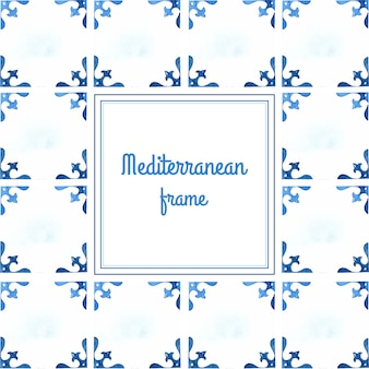Mediterrane tegels aquarel frame