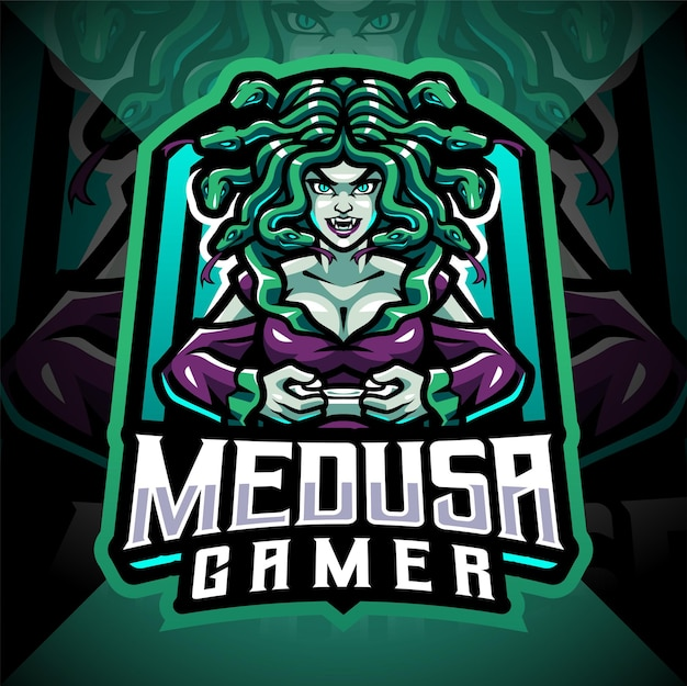 Medusa gamer esport mascotte logo ontwerp