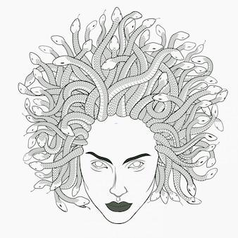 Medusa hoofd illustratie. hand getekend.