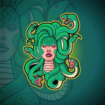 Medusa mascotte esport logo ontwerp